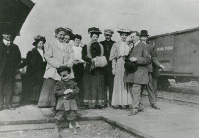 Group of Adults and Children at the Grand Trunk Railroad Station, circa 1920