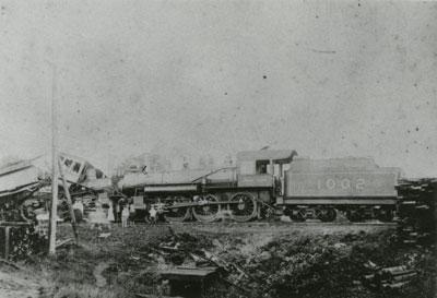 Close up of Locomotives Colliding, Grand Trunk Railroad, 1906