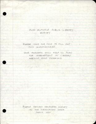 Flos-Elmvale Library Survey 1989