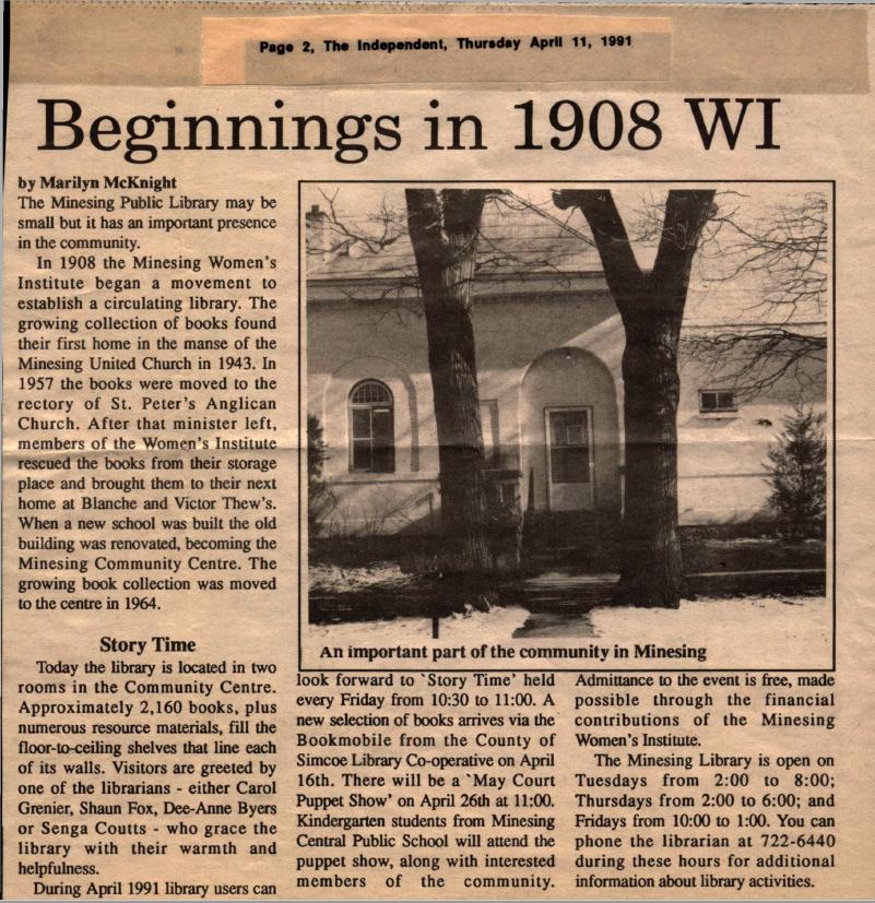 Beginnings in 1908 WI