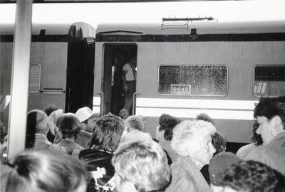 Passengers waiting to board