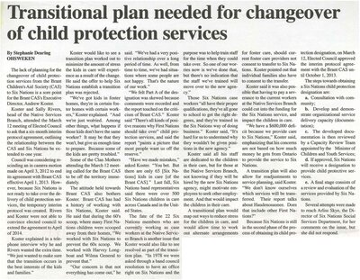 """""""Transitional Plan Needed for Changeover of Child Protective Services"""""""