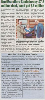 """NextEra Offers Confederacy $7.5 Million Deal, Band Got $8 Million"""