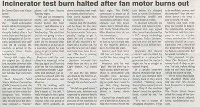 """""""Incinerator Test Burn Halted After Fan Motor Burns Out"""""""