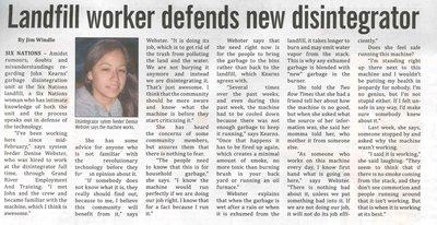 """Landfill Worker Defends New Disintegrator"""