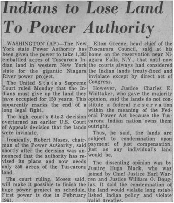 """""""Indians to Lose Land to Power Authority"""""""