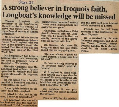 """""""A Strong Believer in Iroquois Faith, Longboats Knowledge Will Be Missed"""""""