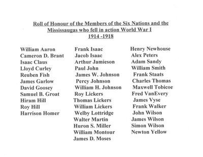 """""""Roll of Honour of the Members of the Six Nations and the Mississaugas who fell in action World War I 1914-1918"""""""