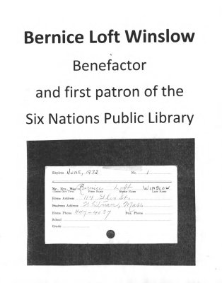 Photocopy of the Library Card of Bernice Loft Winslow