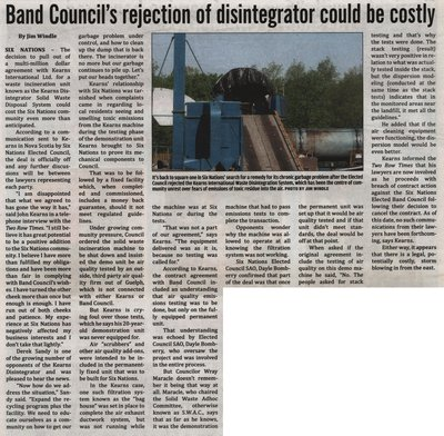 """""""Band Council's Rejection of Disintegrator could be costly"""""""
