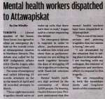"""Mental health workers dispatched to Attawapiskat"""