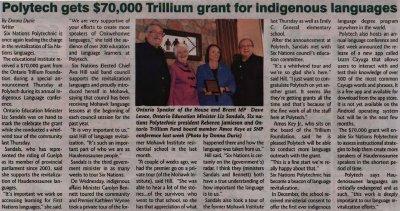 """Polytech gets $70,000 Trillium grant for indigenous languages"""