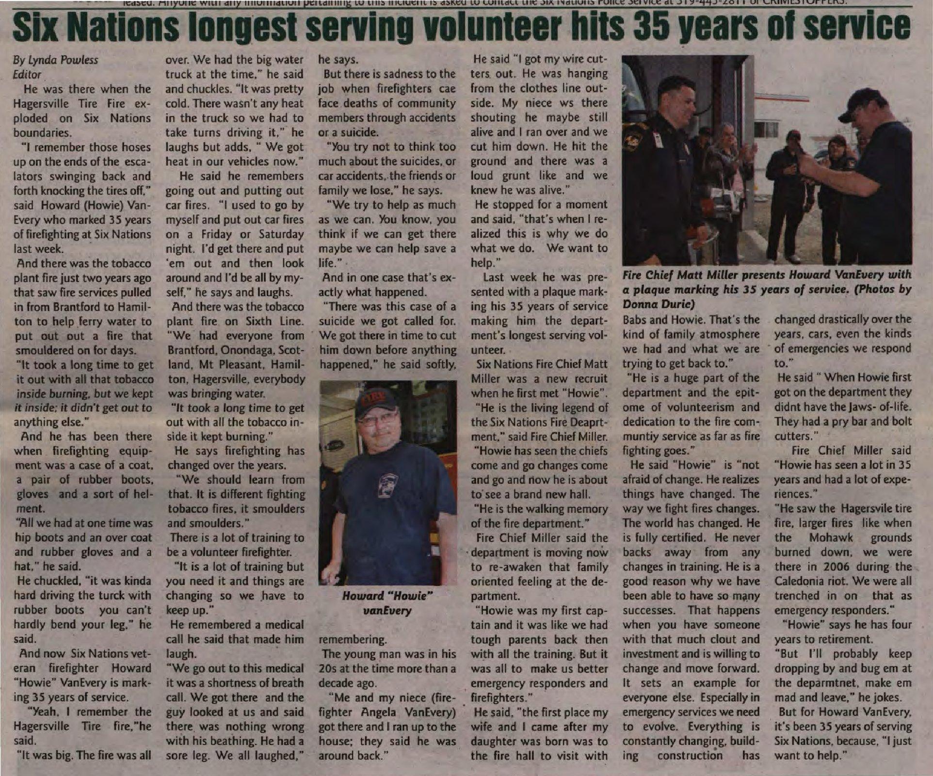 """Six Nations longest serving volunteer hits 35 years of service"""