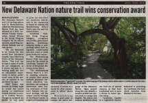 """New Delaware Nation nature trail wins conservation award"""