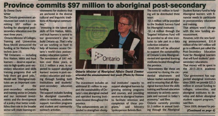 """""""Province commits $97 million to aboriginal post-secondary"""""""