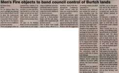 """""""Men's Fire objects to band council control of Burtch lands"""""""