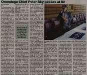 """Onondaga Chief Peter Sky passes at 82"""