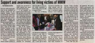 """""""Support and awareness for living victims of MMIW"""""""