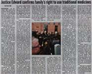 """""""Justice Edward confirms family's right to use traditional medicines"""""""