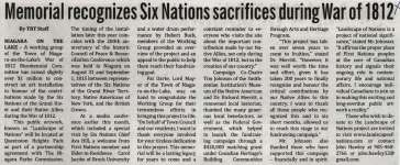 """""""Memorial recognizes Six Nations sacrifices during War of 1812"""""""