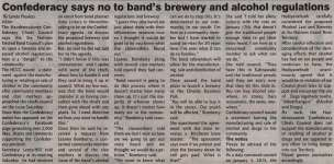 """""""Confederacy says no to band's brewery and alcohol regulations"""""""