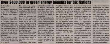 """""""Over $400,000 in green energy benefits for Six Nations"""""""