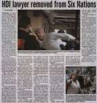 """""""HDI lawyer removed from Six Nations"""""""