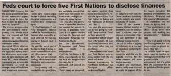 """""""Feds court to force five First Nations to disclose finances"""""""