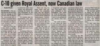 """""""C-10 given Royal Assent, now Canadian law"""""""