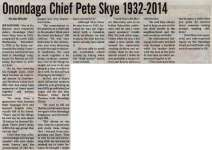 """Onondaga Chief Pete Skye 1932-2014"""