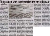 """""""The problem with incorporation and the Indian Act"""""""