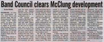 """""""Band Council clears McClung development"""""""