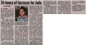 """24-hours of lacrosse for Jada"""