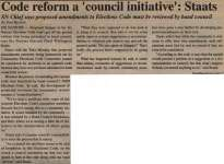 """""""Code reform a 'council initiative': Staats"""""""