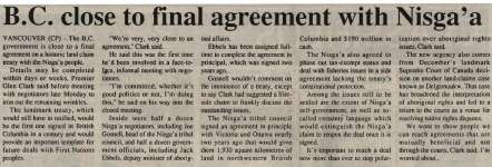 """""""B.C. close to final agreement with Nisga'a"""""""
