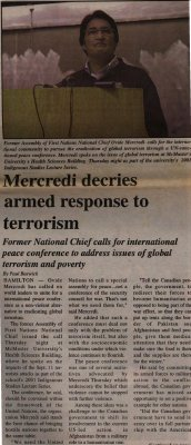 """Mercredi decries armed response to terrorism"""