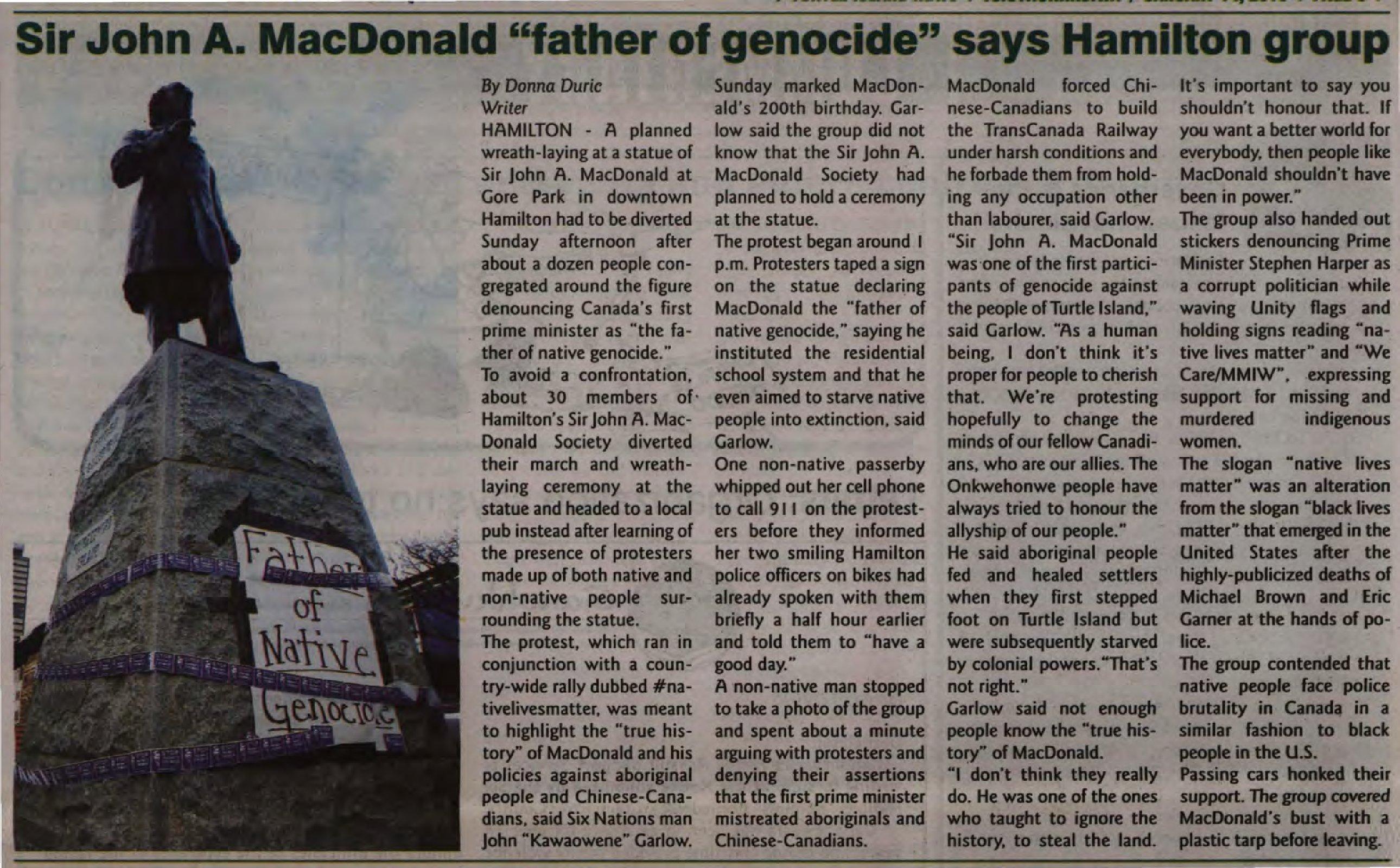 """Sir John A. MacDonald 'father of genocide' says Hamilton group"""