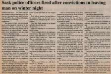 """""""Sask police officers fired after convictions In leaving man on winter night"""""""