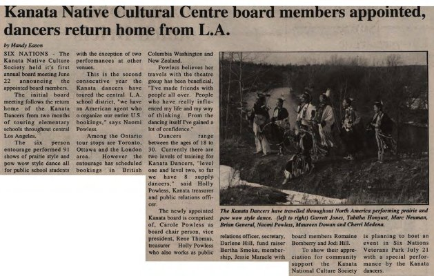 """""""Kanata Native Cultural Centre board members appointed, dancers return home from L.A."""""""