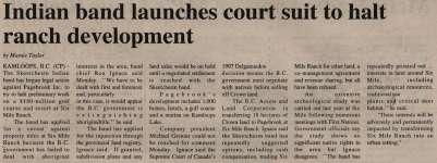 """Indian band launches court suit to halt ranch development"""