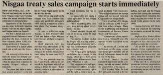 """Nisgaa treaty sales campaign starts immediately"""