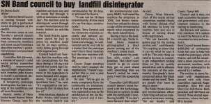 """""""SN Band council to buy landfill disintegrator"""""""