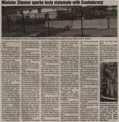 """""""Minister Zimmer sparks testy stalemate with Confederacy"""""""