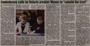 """""""Confederacy calls on Ontario Premier Wynne to 'rebuild the trust'"""""""