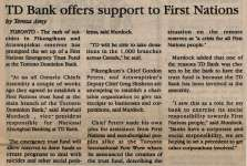 """""""TD Bank offers support to First Nations"""""""