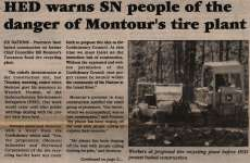 """""""HED warns SN people of the danger of Montour's tire plant"""""""