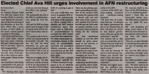 """""""Elected Chief Ava Hill urges involvement in AFN restructuring"""""""