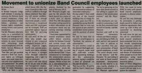 """""""Movement to unionize Band Council employees launched"""""""