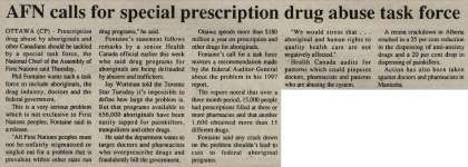 """AFN calls for special prescription drug abuse task force"""