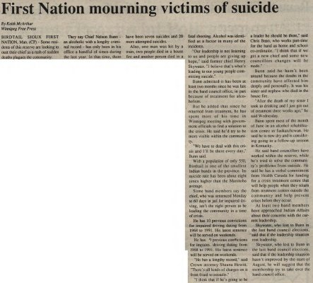 """First Nation mourning victims of suicide"""